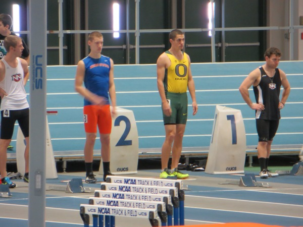 Jeremy Malnes lines up in lane three for Boise State in preliminary race.
