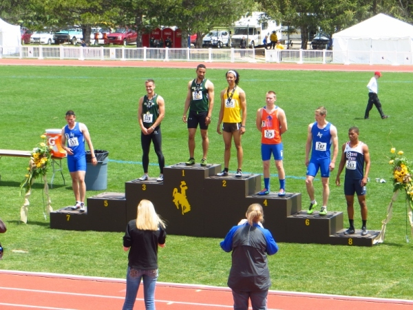 On the award stand.