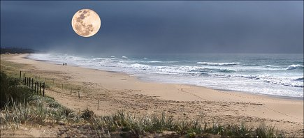 moon over beach