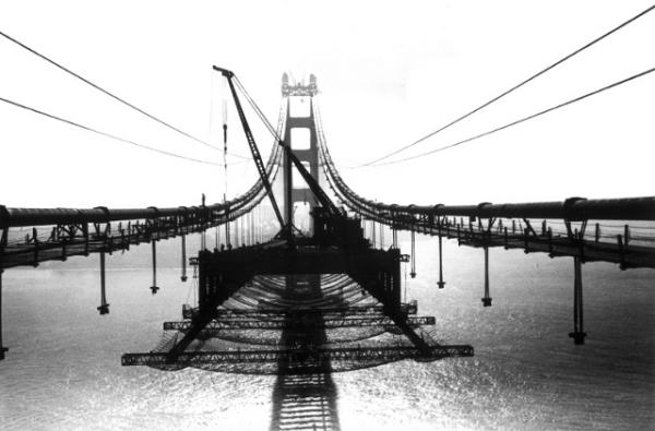 Safety nets on Golden Gate Bridge - 1936